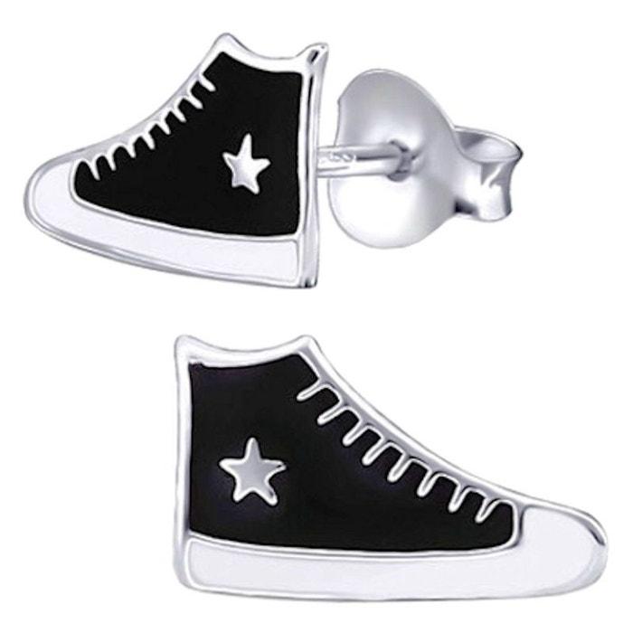 Argent 925 So Chaussure Chic Noir D'oreilles Basket Converse Boucles xwnUqfBvn