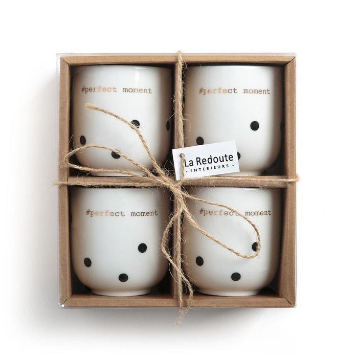 lot 4 tasses expresso porcelaine kubler imprim pois noir fond blanc la redoute interieurs la. Black Bedroom Furniture Sets. Home Design Ideas