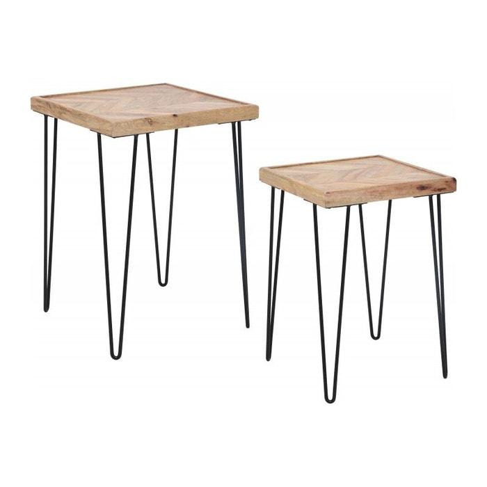 Set De 2 Tables D Appoint En Bois Et Metal Noir Bois Wadiga La