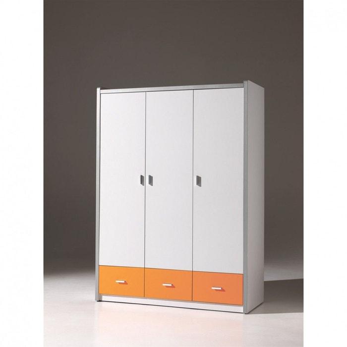 Armoire 3 portes blanche et orange orange terre de nuit - Armoire blanche 3 portes ...