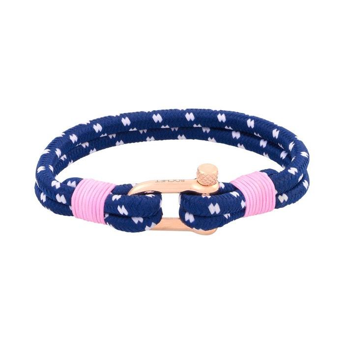 Bracelet en corde bleue et acier rose Rochet | La Redoute Acheter Moins Cher Pas Cher DQG4S0LfXy