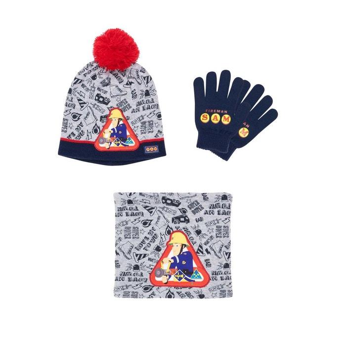 Ensemble 3 pièces   un col tube, bonnet et gants gris Sam Le Pompier   La  Redoute d9ea66292ab