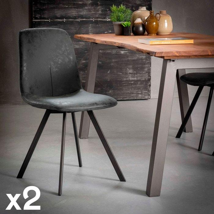 Chaise de salle à manger contemporaine tissu synthétique noir JAVA (lot de 2)