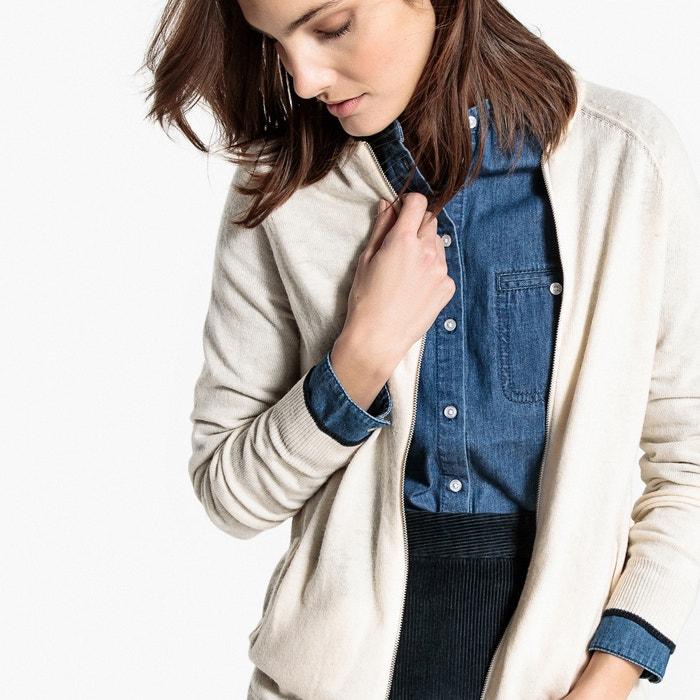 Cardigan cerniera, bordo a contrasto, lana  La Redoute Collections image 0