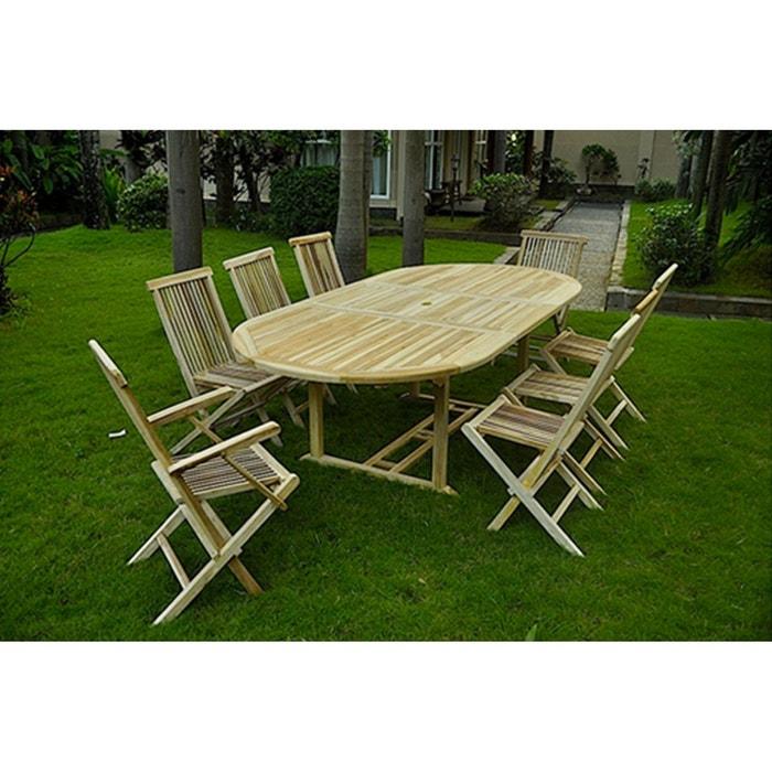 Kajang salon de jardin teck massif 10 12 pers table for Usine deco jardin