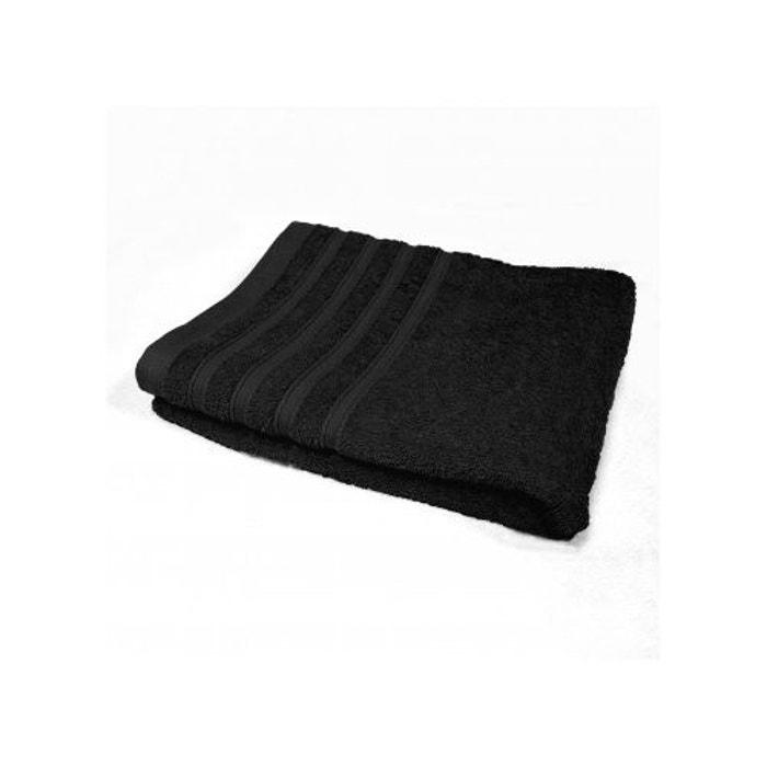 drap de bain 90x150 cm uni en eponge noir home bain la redoute. Black Bedroom Furniture Sets. Home Design Ideas