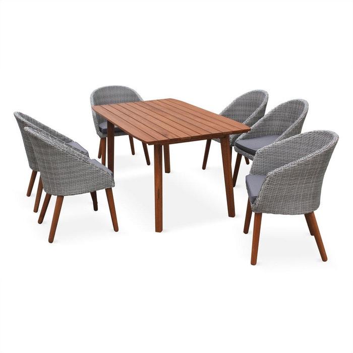 salon de jardin huesca design scandinave eucalyptus fsc et r sine tress e arrondie table en. Black Bedroom Furniture Sets. Home Design Ideas