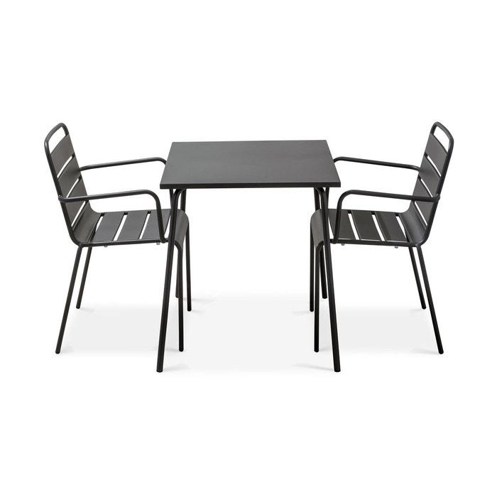 Table De Jardin Bistrot Et 2 Fauteuils En Acier Thermolaque