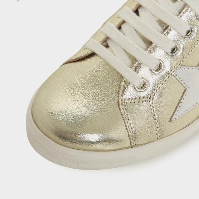 Baskets à lacets avec motif étoile appliqué - edris doré cuir Dune London