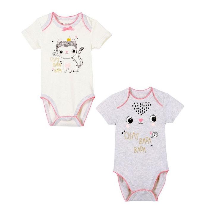 dcd0ae64a4685 Lot de 2 bodies bébé fille manches courtes chatbada ecru Petit Beguin