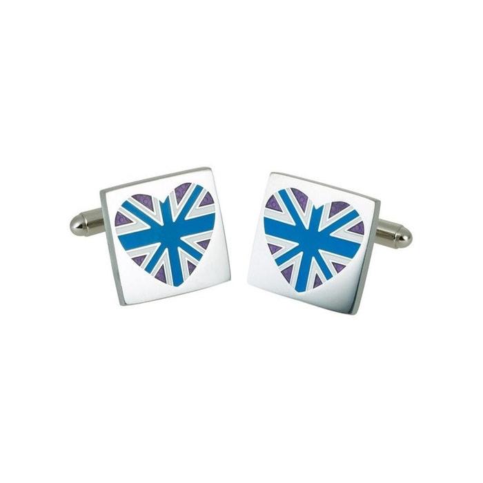 Bouton de manchette blue union jack heart, gb collection bleu Sonia Spencer | La Redoute