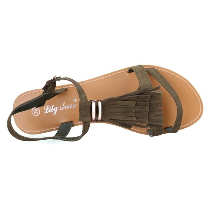 Sandales à franges vert Leader Mode