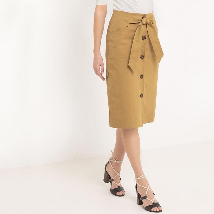 afbeelding Rechte rok met knopen, knielengte atelier R