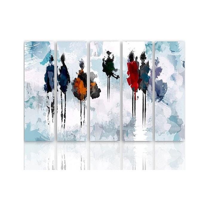 Composition De 5 Tableaux Arbre De Peinture Imprimé Sur Toile