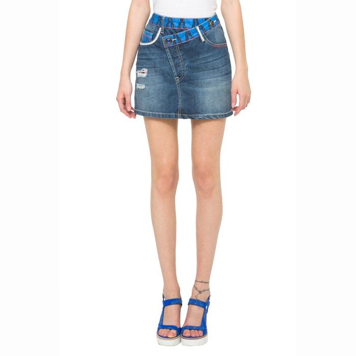 Fal Ethnic Mini Denim Skirt with Worn Effect.