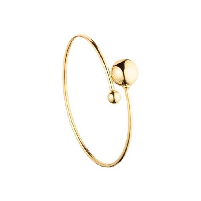 Bracelet jonc christine en argent 925, dorure or 18k, 6.3g, ø55mm or Clio Blue   La Redoute