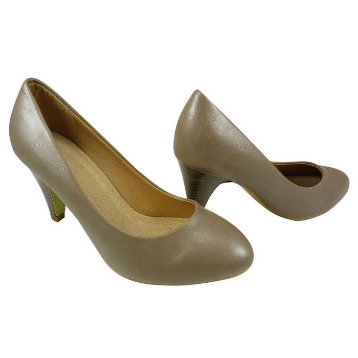 Chaussures femme à talons escarpin similicuir taupe Chaussmaro