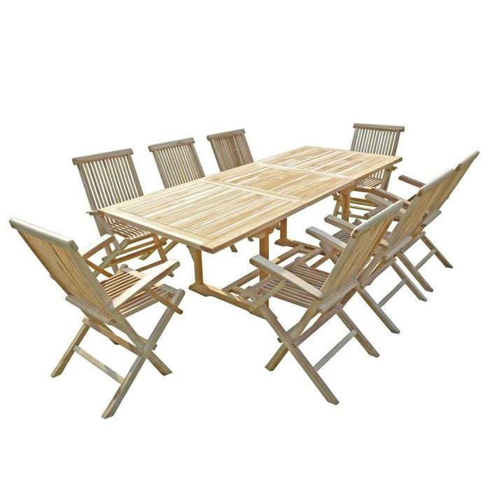 Ensemble de salon jardin en teck AMARA 8 fauteuils pliants