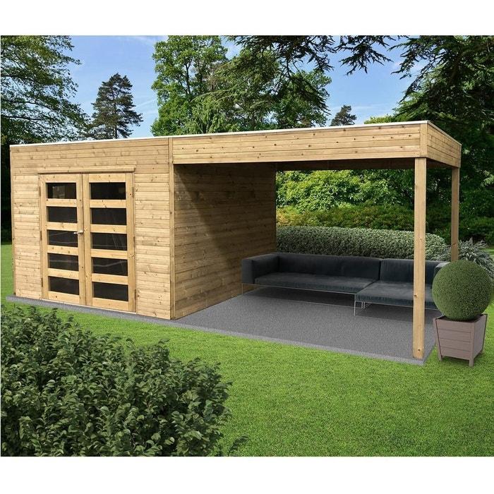 Solid Abri de jardin en bois trait? Tarento avec auvent - 8 m? S8742-1