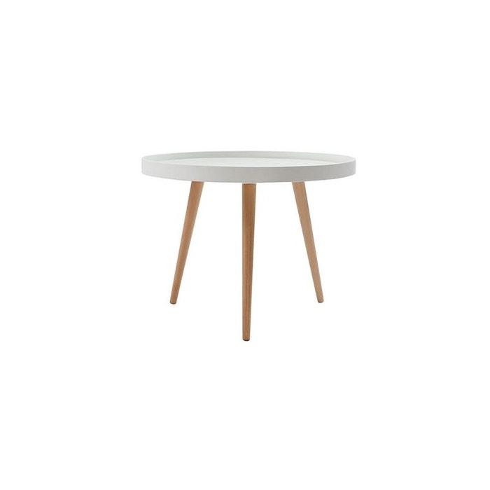 table basse ronde blanche et bois 60cm rix blanc miliboo la redoute. Black Bedroom Furniture Sets. Home Design Ideas