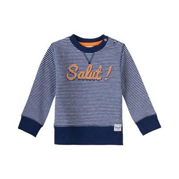 067fe5f6e4a12 Sanetta sweat-shirt rayé salut t-shirt bébé vêtements bébé bleu foncé  Sanetta