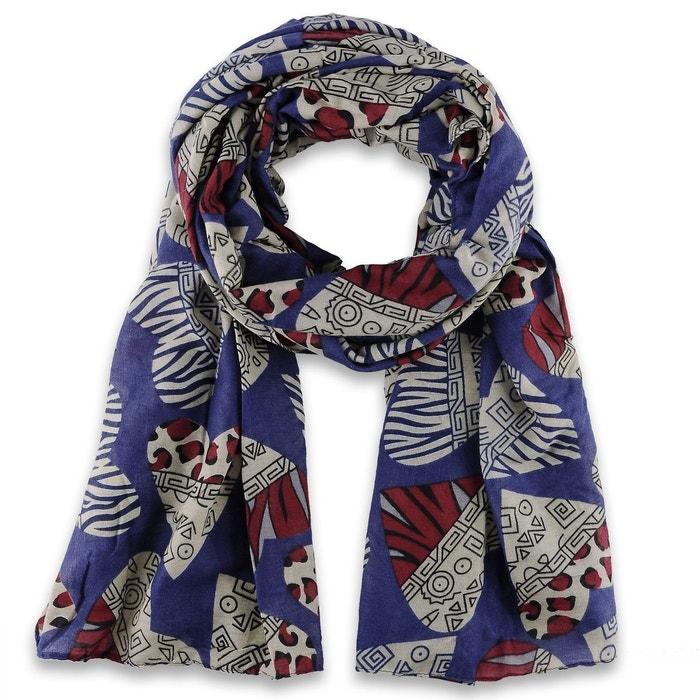 ch che viscose coeurs bleu marine bleu allee du foulard la redoute. Black Bedroom Furniture Sets. Home Design Ideas