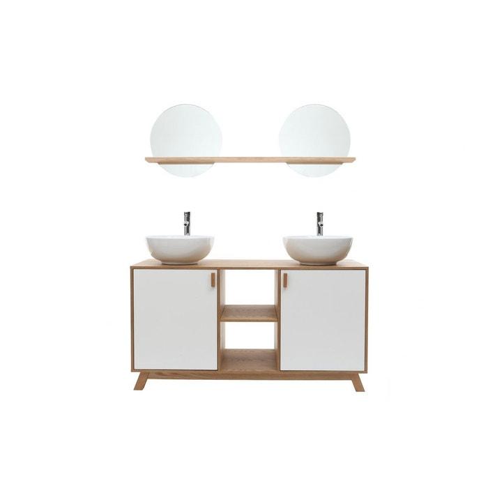 Meuble De Salle De Bains Avec Double Vasque Rangements Et Miroir