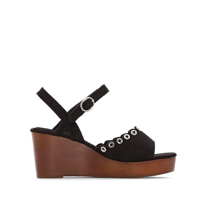 Sandales compensées bois pied large 38-45 noir Castaluna