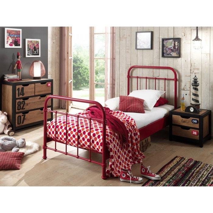 lit enfant en m tal rouge 90x200 rouge terre de nuit la redoute. Black Bedroom Furniture Sets. Home Design Ideas