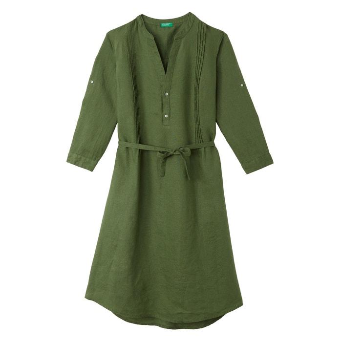 Linen Tunic Dress with Tie Waist  BENETTON image 0