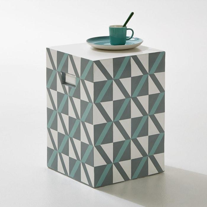 Tabouret carr de jardin motifs carrelage fibre la - La redoute meubles de jardin ...