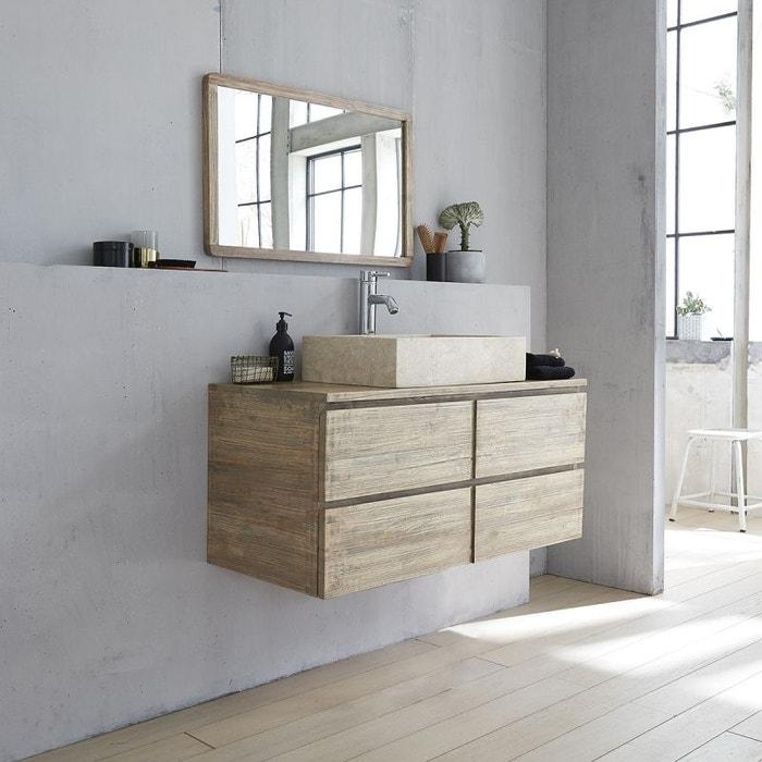 Meuble de salle de bain en bois d\'hévéa suspendu 100