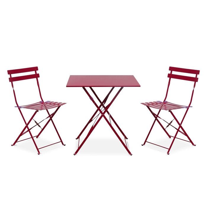 Salon de jardin bistrot pliable emilia carré avec deux chaises ...