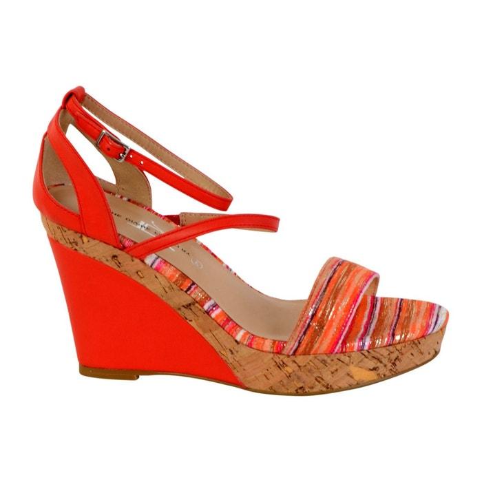 Sandale compensée rouge The Divine Factory