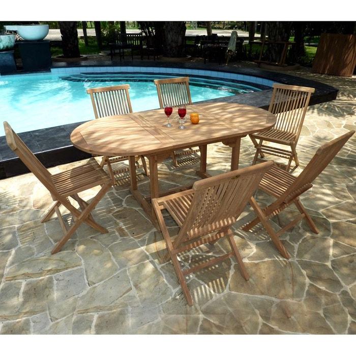 salon de jardin en teck brut pour 6 personnes table en teck 120-180 cm + 6  chaises pliantes