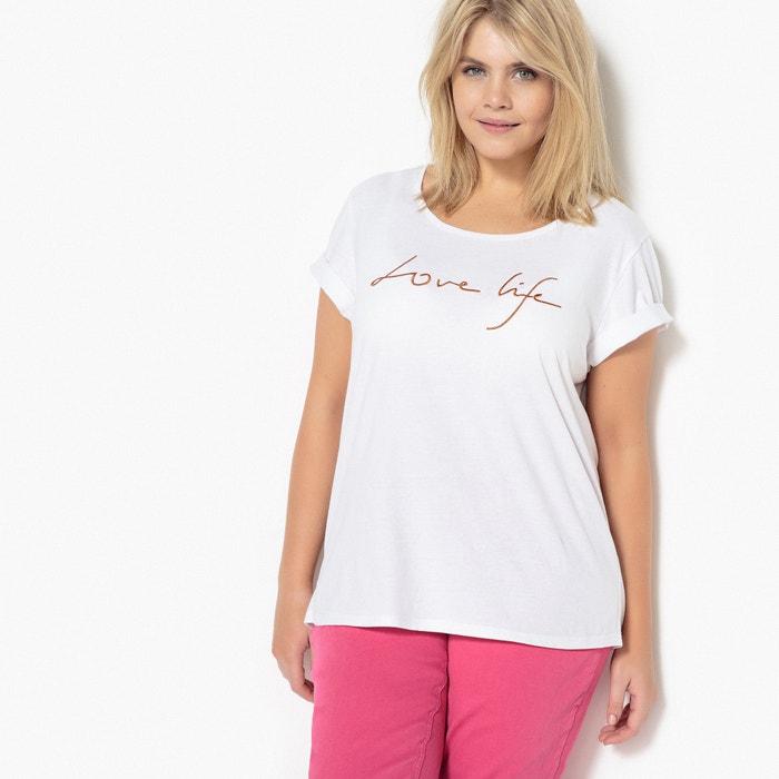 Embroidered Love Life Slogan T-Shirt  CASTALUNA PLUS SIZE image 0