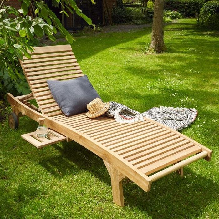 bain de soleil en bois de teck teck brut bois dessus bois dessous la redoute. Black Bedroom Furniture Sets. Home Design Ideas