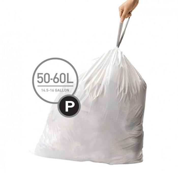 sacs poubelle 50 60 l code p simplehuman blanc simplehuman. Black Bedroom Furniture Sets. Home Design Ideas
