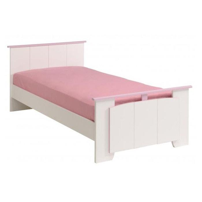 lit avec tte et pied beauty megeve blanc et rose declikdeco image 0 - Lit Avec Tete De Lit
