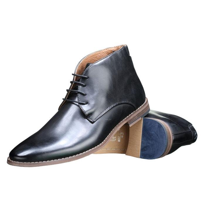 Galax Bottine hautes à talons plats Noir - Chaussures Boot Homme