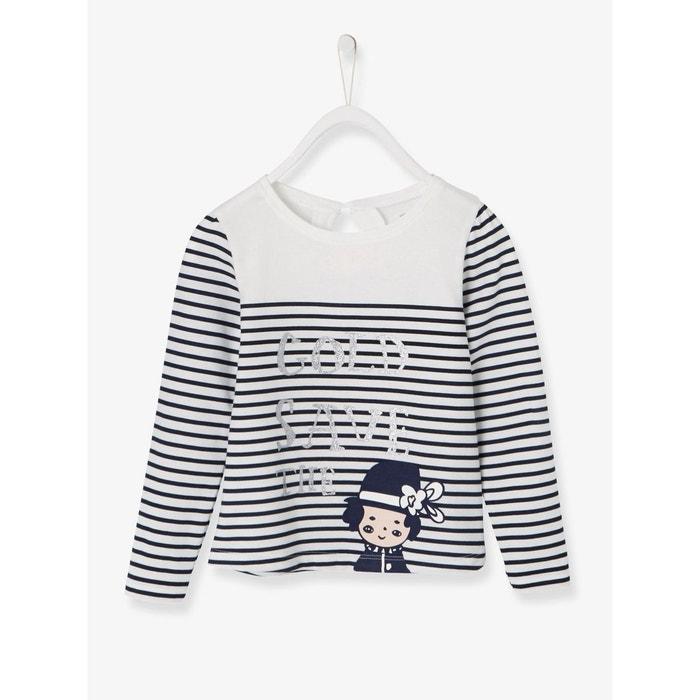 80e65a2ffeafe T-shirt fille esprit marinière en jersey bleu foncé rayé Vertbaudet ...
