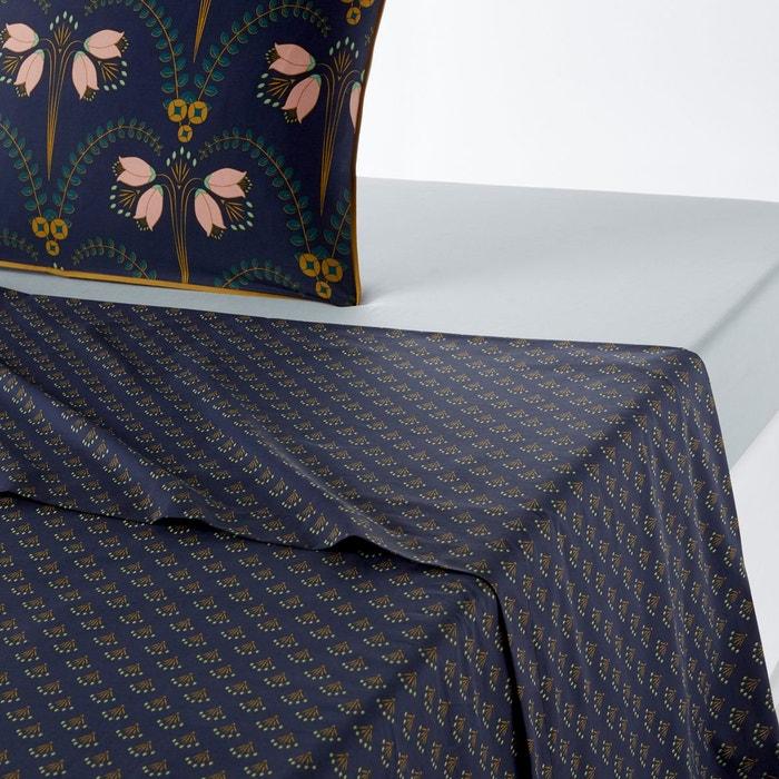 drap plat imprim en percale belladone imprim bleu fonc la redoute interieurs la redoute. Black Bedroom Furniture Sets. Home Design Ideas