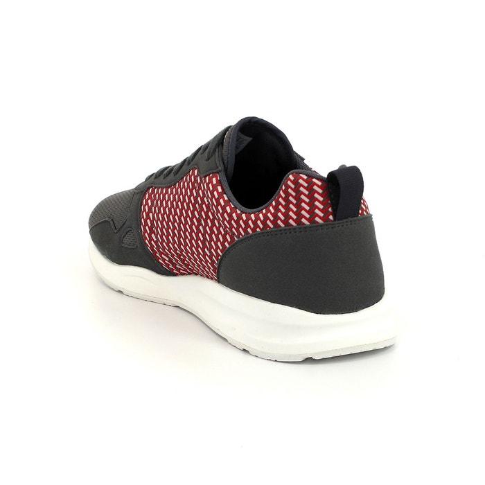 Le coq sportif lcs r600 geo jacquard chaussures mode sneakers homme gris rouge gris Le Coq Sportif