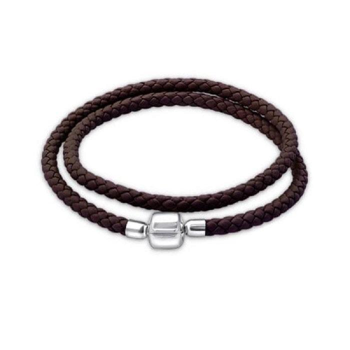 Bracelet double tour 38 cm pour charms cuir marron argent 925 Large Gamme De Pas Cher En Ligne gpmzt8Kz