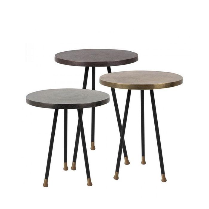 set 3 tables d 39 appoint vintage alim dutchbone noir drawer la redoute. Black Bedroom Furniture Sets. Home Design Ideas