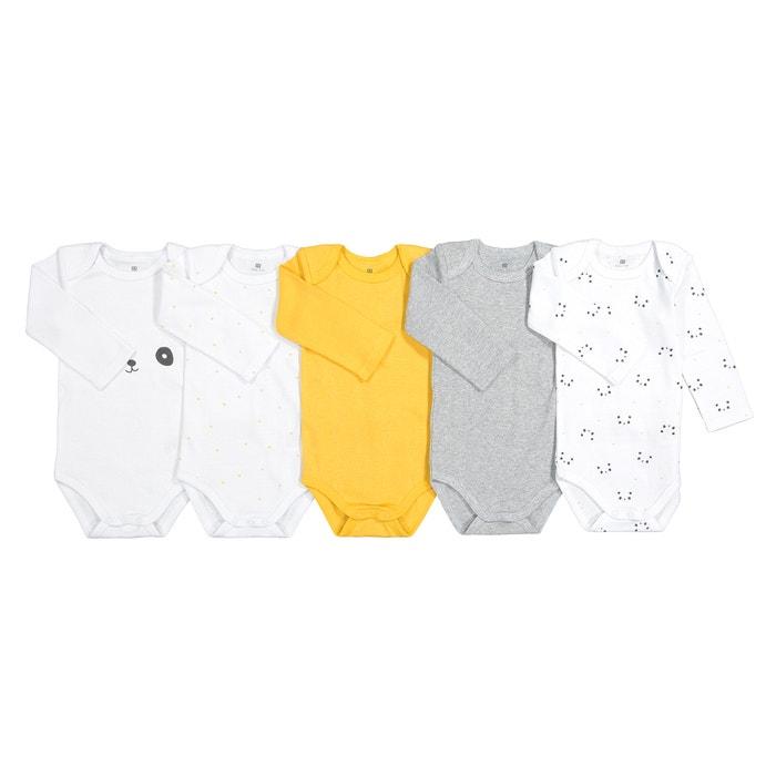 894cc8d0de95f Lot de 5 bodies manches longues 0 mois-3 ans jaune + blanc La Redoute  Collections