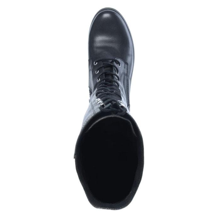Bottes hautes à lacets noir Sacha