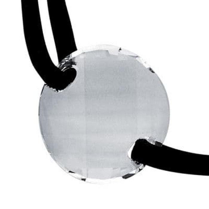 Vente Pas Cher Offres Collier cordon 42 cm disque cristal blanc facettes cuir noir argent 925 couleur unique So Chic Bijoux | La Redoute Réduction À La Vente 7MThEF6M