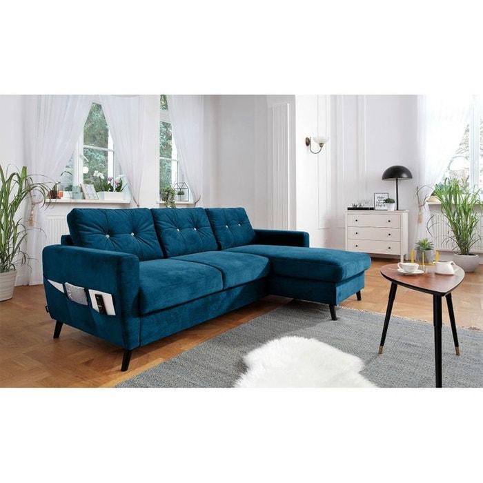 canap d 39 angle droit scandi convertible coffre dition limit e bleu canard bleu bobochic la. Black Bedroom Furniture Sets. Home Design Ideas