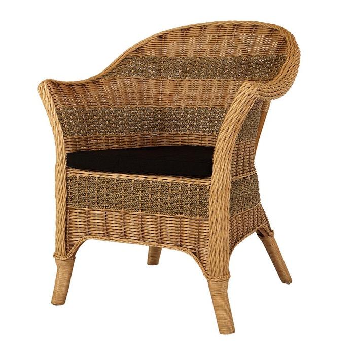 fauteuil en seagrass et rotin tress perth rotin design miel paille rotin design la redoute. Black Bedroom Furniture Sets. Home Design Ideas
